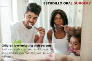 Mom and Dad brushing teeth with kids for a healthy smile, with text - Estudillo, CA